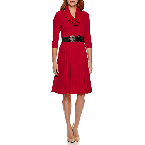 Robbie Bee® 3/4-Sleeve Belted Fit-and-Flare Dress with Infinity Scarf - Petite