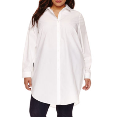 jcpenney.com | Boutique+ Long-Sleeve Button-Front Tunic Shirt - Plus
