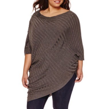 jcpenney.com | Boutique+ Elbow-Sleeve Scoop Neck Asymmetric Sweater - Plus