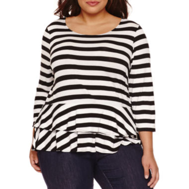 jcpenney.com | Boutique+ 3/4-Sleeve Peplum Knit Top - Plus