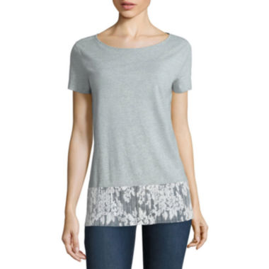 jcpenney.com | Stylus™ Short-Sleeve Lace Peplum Top