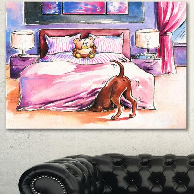 Designart Brown Dog In Bedroom Animal Canvas Artprint Jcpenney