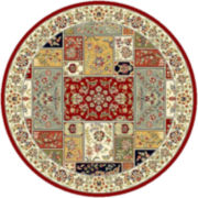 Lyndhurst Traditional Squares Indoor/Outdoor Round Rugs