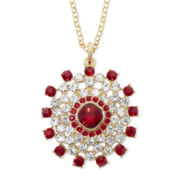 Monet® Red and Clear Crystal Circle Pendant Necklace