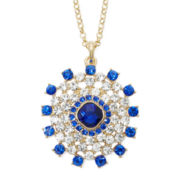 Monet® Blue and Clear Crystal Circle Pendant Necklace