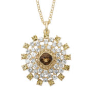 Monet® Brown and Clear Crystal Circle Pendant Necklace