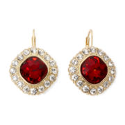 Monet® Red and Clear Crystal Drop Earrings