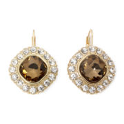 Monet® Brown and Clear Crystal Drop Earrings