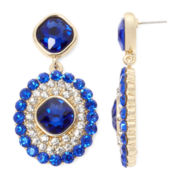 Monet® Blue and Clear Crystal Double-Drop Earrings