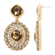 Monet® Brown and Clear Crystal Double-Drop Earrings