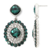 Monet® Green and Clear Crystal Double-Drop Earrings