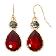 Liz Claiborne® Red and Black Stone Gold-Tone Drop Earrings