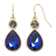 Liz Claiborne® Blue and Black Stone Gold-Tone Drop Earrings