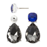 Liz Claiborne® Black and Blue Stone Silver-Tone Double-Drop Earrings