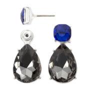 Liz Claiborne® Black and Blue Stone Silver-Tone Double-Drop Earrings