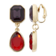 Liz Claiborne® Red and Purple Stone Clip-On Drop Earrings