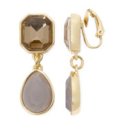 Liz Claiborne® Yellow and Gray Stone Clip-On Drop Earrings