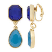 Liz Claiborne® Blue Stone Clip-On Drop Earrings