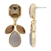 Liz Claiborne® Yellow and Gray Stone Gold-Tone Double-Drop Earrings