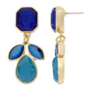 Liz Claiborne® Blue Stone Gold-Tone Double-Drop Earrings