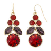 Liz Claiborne® Red and Purple Stone Gold-Tone Chandelier Earrings