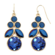 Liz Claiborne® Blue Crystal Gold-Tone Chandelier Earrings