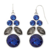 Liz Claiborne® Blue and Black Bead Silver-Tone Chandelier Earrings