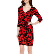 Worthington® 3/4-Sleeve Print Sheath Dress