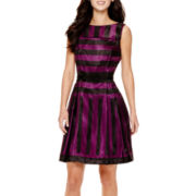 Danny & Nicole® Sleeveless Striped Shantung Fit-and-Flare Dress