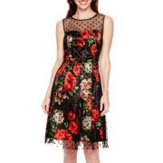 Studio 1® Sleeveless Mesh-Overlay Fit-and-Flare Dress