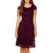 RN Studio by Ronni Nicole Cap-Sleeve Lace Fit-and-Flare Dress