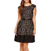 Tiana B. Bonded Lace Fit and Flare Dress