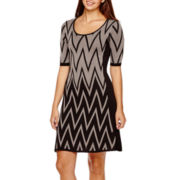RN Studio by Ronni Nicole 3/4-Sleeve Chevron Sweater Dress