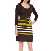 Studio 1® 3/4-Sleeve Striped Sweater Dress