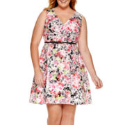 Liz Claiborne® Sleeveless Belted Fit-and-Flare Dress - Plus