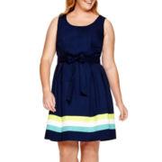 Liz Claiborne® Sleeveless Colorblock Fit-and-Flare Dress - Plus
