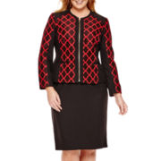 Isabella Long-Sleeve Jacquard Jacket and Skirt Suit - Plus