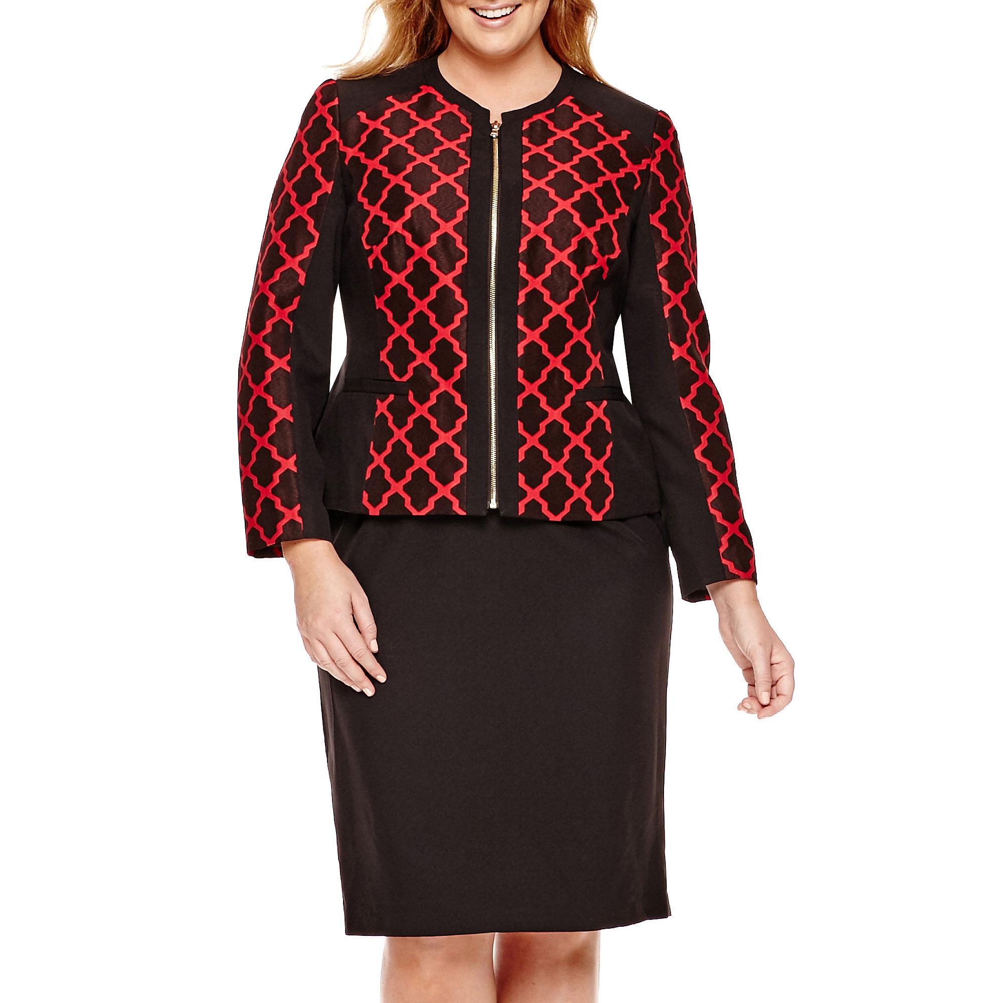 Isabella Long-Sleeve Jacquard Jacket and Skirt Suit - Plus
