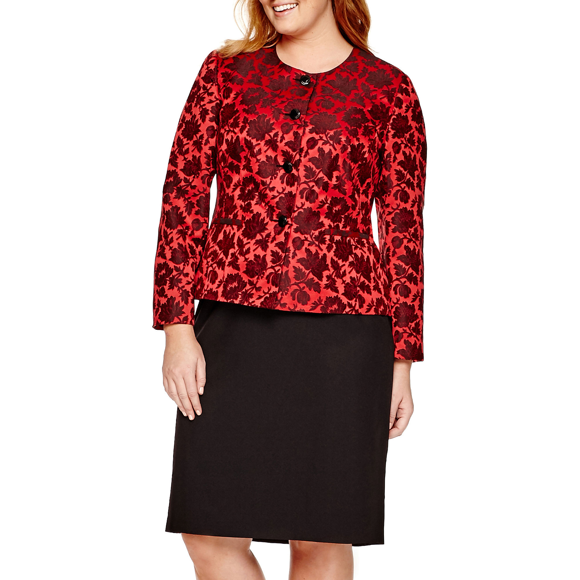 Isabella Long-Sleeve Floral Print Jacket and Skirt Suit - Plus