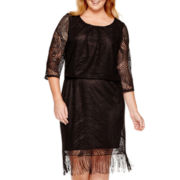 Tiana B. 3/4-Sleeve Blouson Fringe Dress - Plus