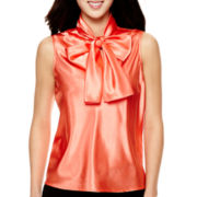 Black Label by Evan Picone Sleeveless Bow Blouse