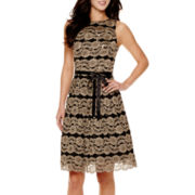 Jackie Jon Sleeveless Lace Fit-and-Flare Dress