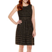 Liz Claiborne® Sleeveless Metallic Tweed Fit-and-Flare Dress