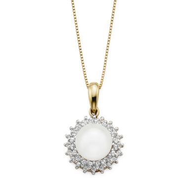 jcpenney.com | Cultured Freshwater Pearl and Lab-Created White Sapphire Button Pendant Necklace