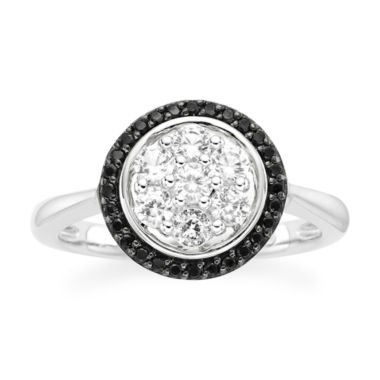 jcpenney.com | Lab-Created White Sapphire and Onyx Round Sterling Silver Ring