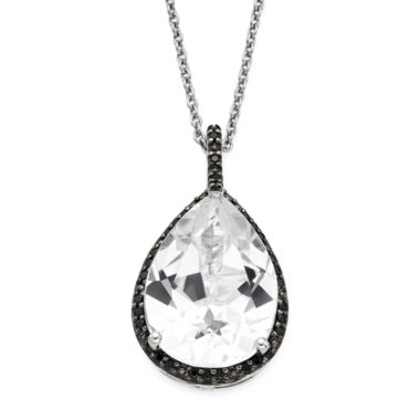 jcpenney.com | Lab-Created White Sapphire and Black Onyx Sterling Silver Pendant Necklace