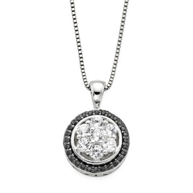 jcpenney.com | Lab-Created White Sapphire and Black Onyx Round Sterling Silver Pendant Necklace