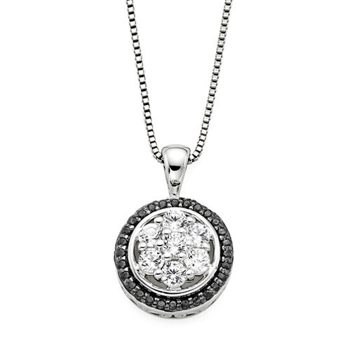 Lab-Created White Sapphire and Black Onyx Round Sterling Silver Pendant Necklace