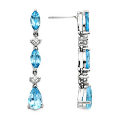 jcpenney.com | Lab-Created Blue Topaz and Diamond-Accent 10K White Gold Drop Earrings