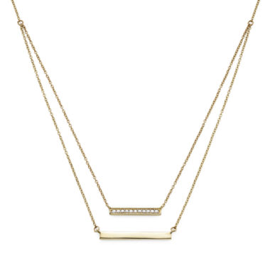 jcpenney.com | 1/10 CT. T.W. Diamond 10K Yellow Gold Layered Bar Necklace